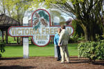 Ruby West gets instructions from Script Writer Peter Hansen in front of the park sign named for her mother