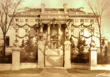 Corinthian Hall decorated for the holidays, ca 1920 - CLICK for enlargement
