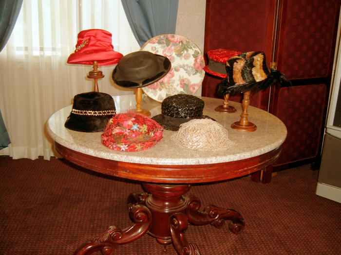 Display of several of Mrs. Combs' beautiful hats.