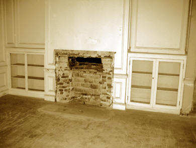 Fireplace and Bookcases in Mr. and Mrs. Long's Bedroom