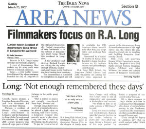 "Newspaper clipping of ""Filmmakers focus on R. A. Long"""